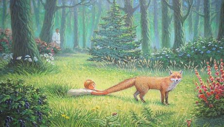 woods, fox, child