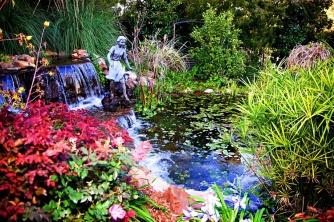 Pond. foliage, sculpture