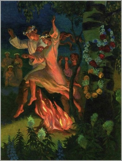 Mid-way between spring and summer solstice is a full moon called Beltane. The maypole dance comes from this celebration of the marriage of winter and summer.